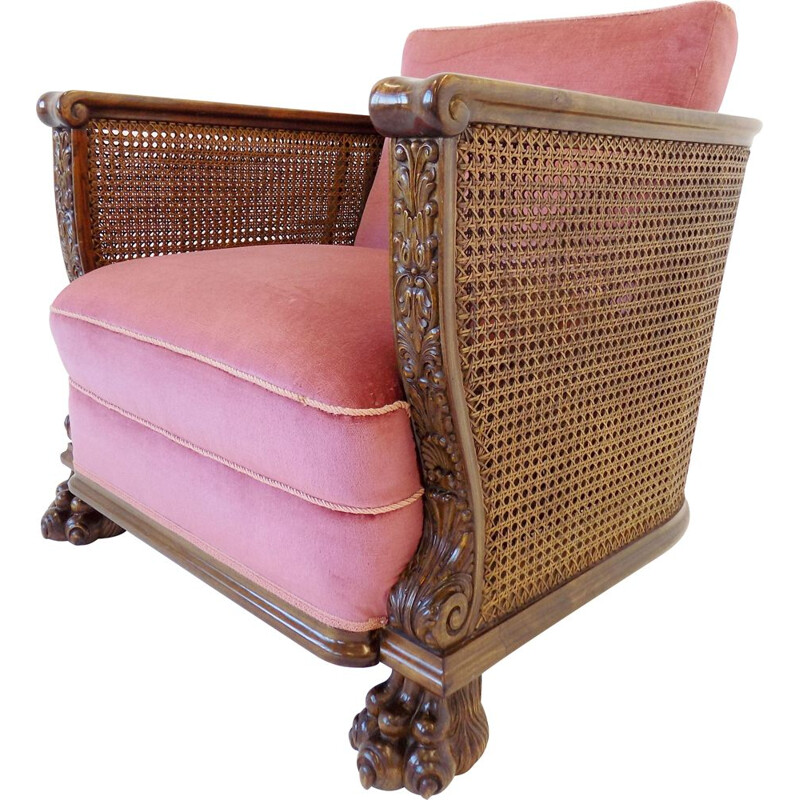 Vintage rattan wood armchair German 1930