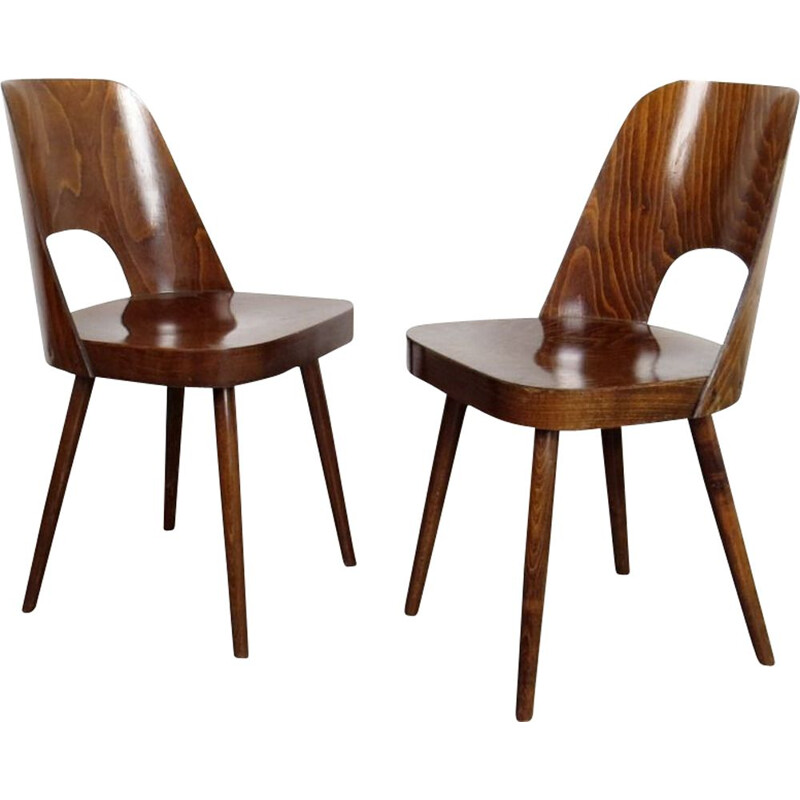 Pair of dining chair by Oswald Haertl Czechoslovakia 1960s