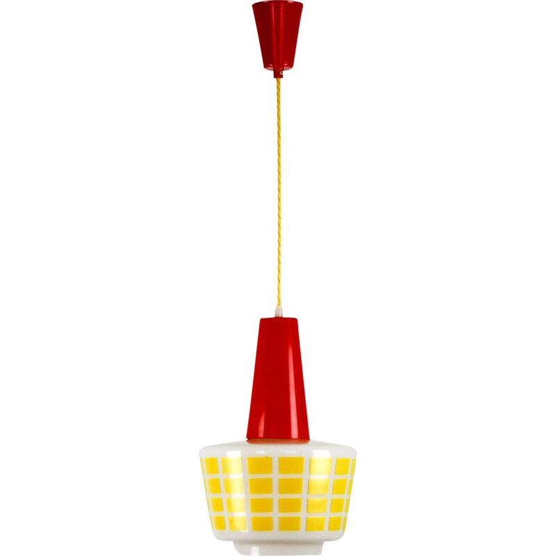 Vintage Red and yellow glass pendant lamp