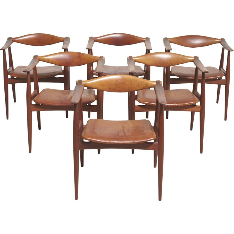 Set of 6 vintage Armchairs Model CH-34 in Teak by Hans J. Wegner for Carl Hansen & Søn, Denmark 1950