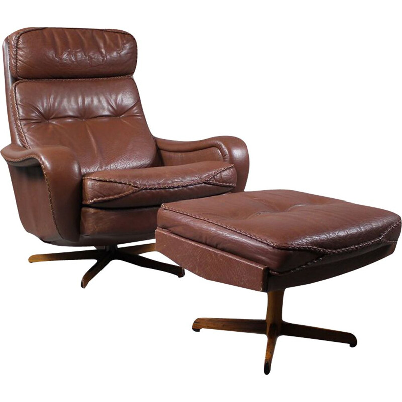 Vintage Leather Swivel Lounge Chair with Ottoman from Madsen & Schubell Danish