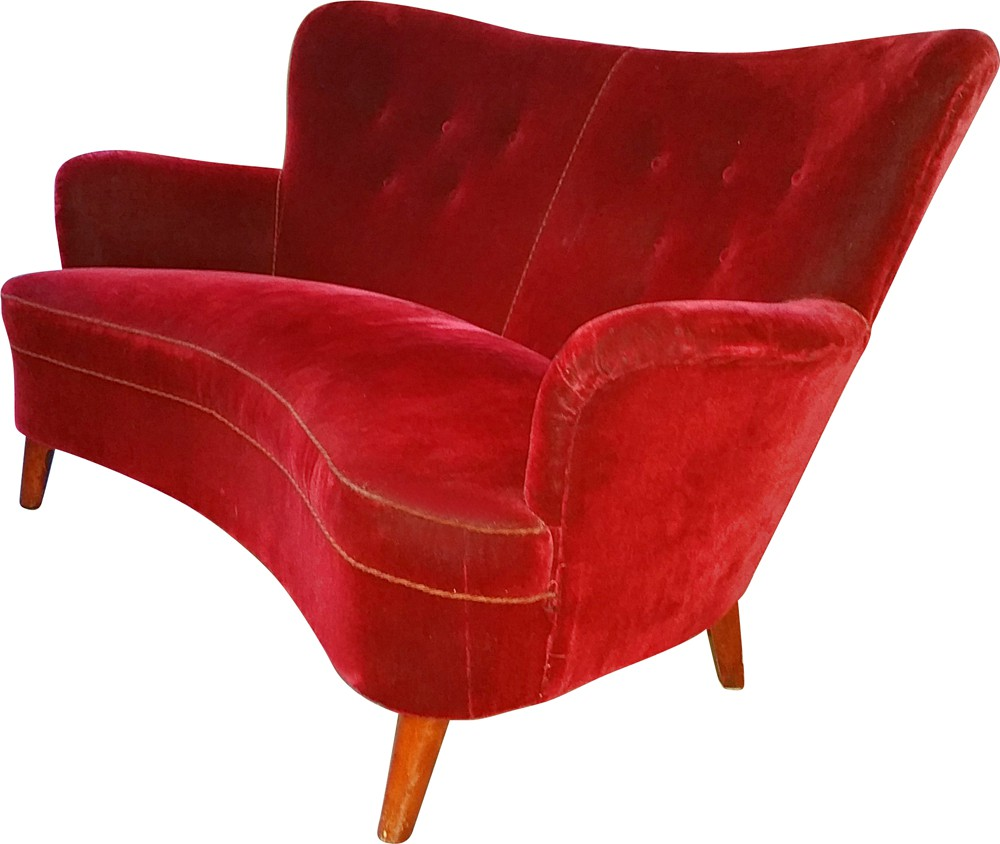 2 seater Scandinavian sofa in red velvet fabric and wood, Carl ...