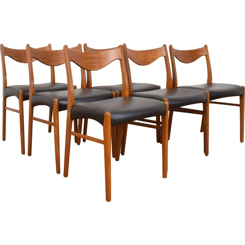 6 Mid-Century Teak and Leather Dining Chairs by Arne Wahl Iversen for Glyngøre Stolefabrik, Danish 1960s