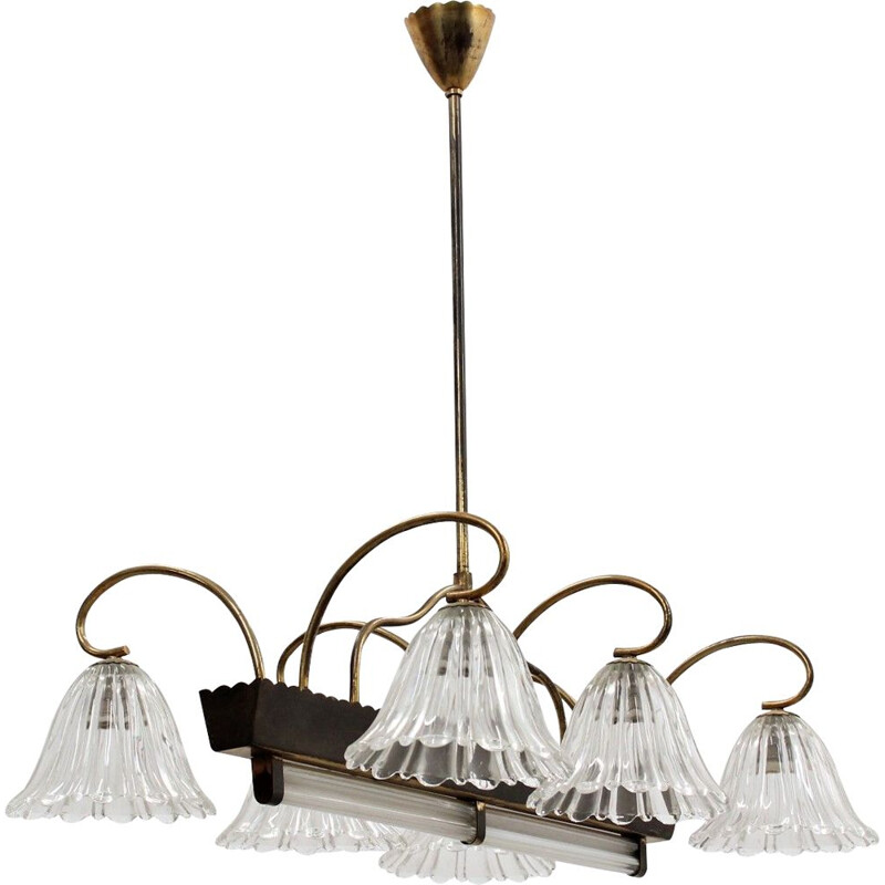 Vintage Murano glass large pendant chandelier by Barovier & Toso 1940s
