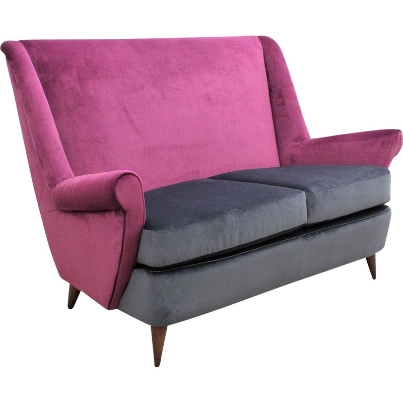 Vintage sofa by ISA Bergamo in purple italian
