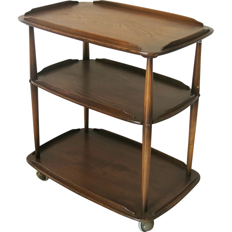 Mid-century Ercol trolley in elm wood, Lucian ERCOLANI - 1950s