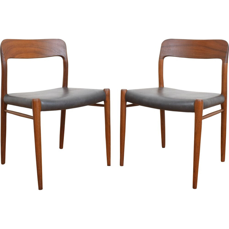 Pair of Mid-Century Teak Chairs Niels Otto Møller for J. L. Møller, Danish 1960s