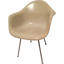 "Herman Miller ""DAX"" beige armchair in fiber glass and metal, Charles et Ray EAMES - 1970s"