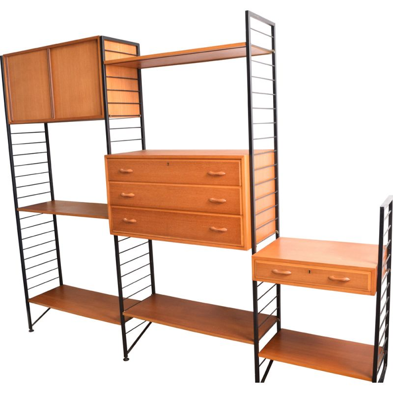 Vintage Teak 3 Bay Ladderax Wall System Shelving By Staples 1960s