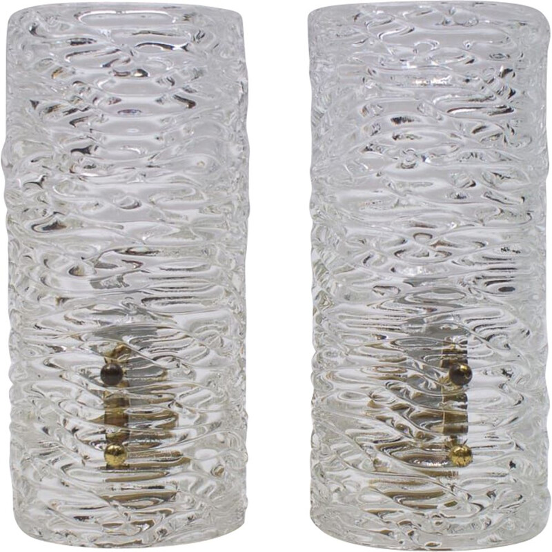Pair of vintage Ice Glass Sconces from Kalmar, Austrian 1950s