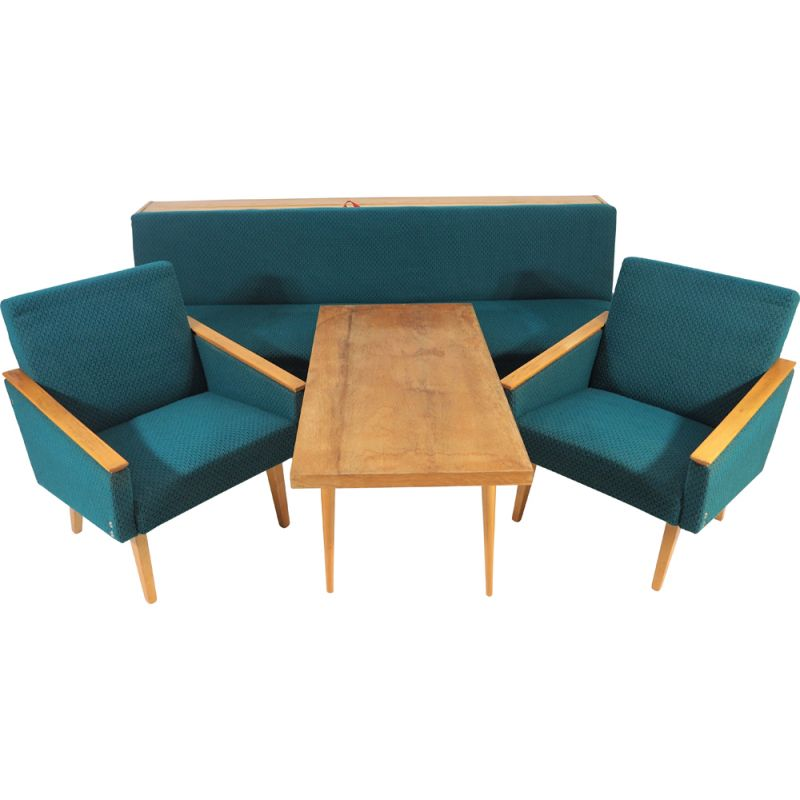 Pair of Vintage Sofa, Armchairs, Table Set from Tatra, 1970s