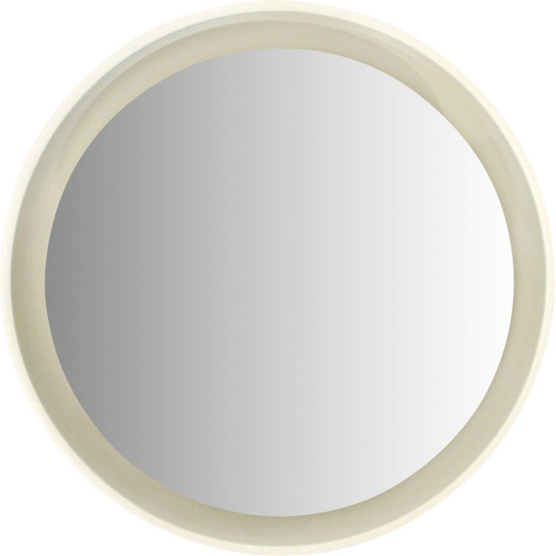 Vintage Round lighted mirror in white lacquered wood by CRB, 1960s