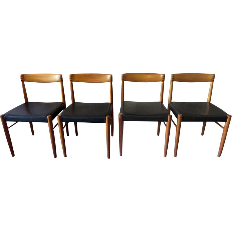 4 Vintage Inlaid Teak and Leather Chairs Four H. W. Klein 1960s