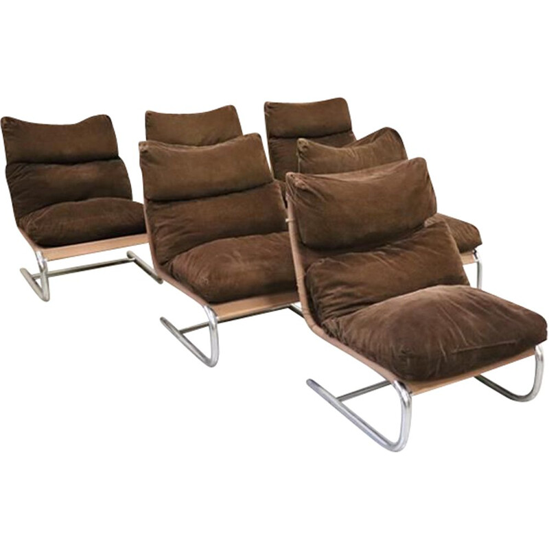 Set of 6 Vintage  Lounge chairs Johan Huldt Innovator 1970