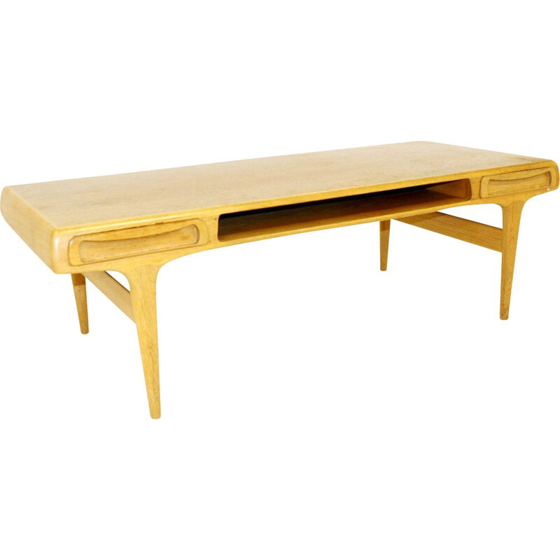 Vintage oak coffee table, Johannes Andersen, Sweden 1960