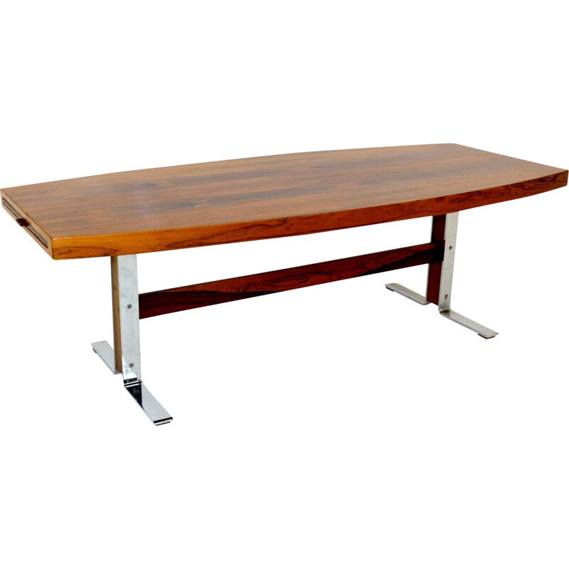 Vintage rosewood and metal coffee table Johannes Andersen, Sweden, 1960
