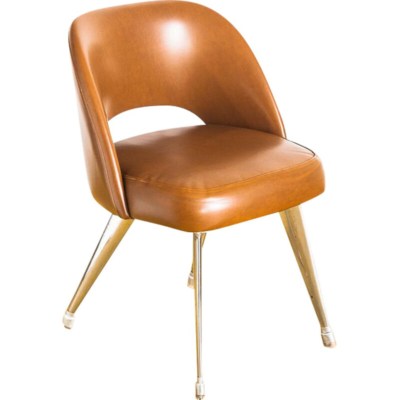 Vintage desk chair in leatherette and aluminium, Spain 1970