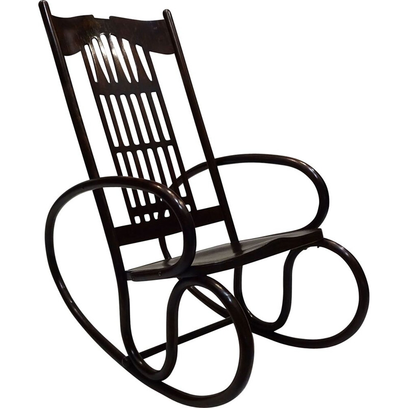 Vintage bentwood Rocking chair, Art Nouveau, by Gustav Siegel and Jacob and Josef Kohn