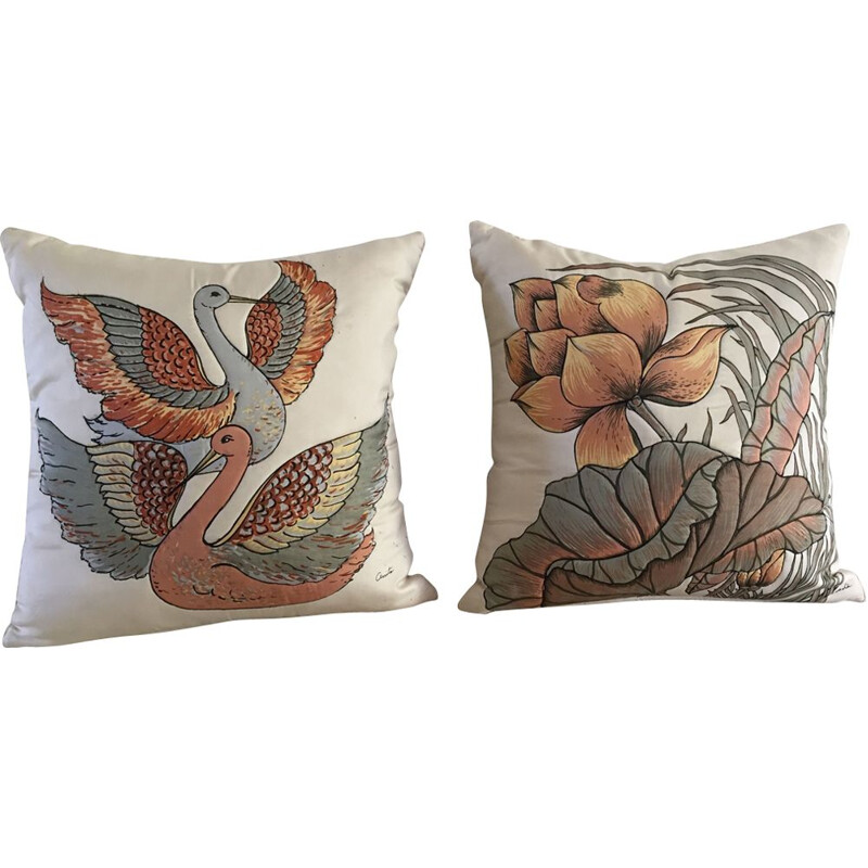 Pair of Vintage Pure Silk Cushions