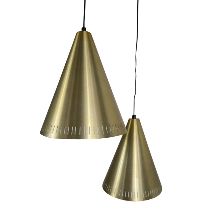 Pair of vintage brass pendant lamps by Svend Aage Holm Sorensen