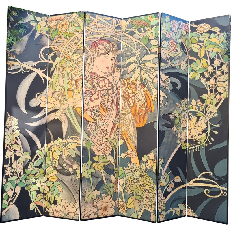 Vintage painted and engraved folding screen Coromandel