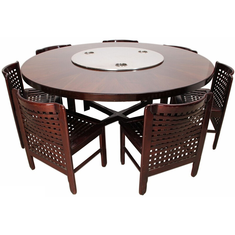 Dining set with 7 chairs in rosewood and stainless - 1970s