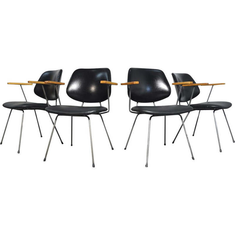Set of 4 mid-century vintage industrial dining chairs by Wim Rietveld for Kembo, Netherlands 1950s