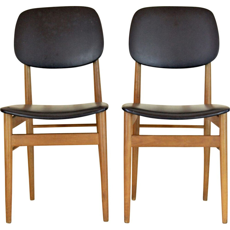 Pair of vintage dining chairs by Ico Parisi 1950s