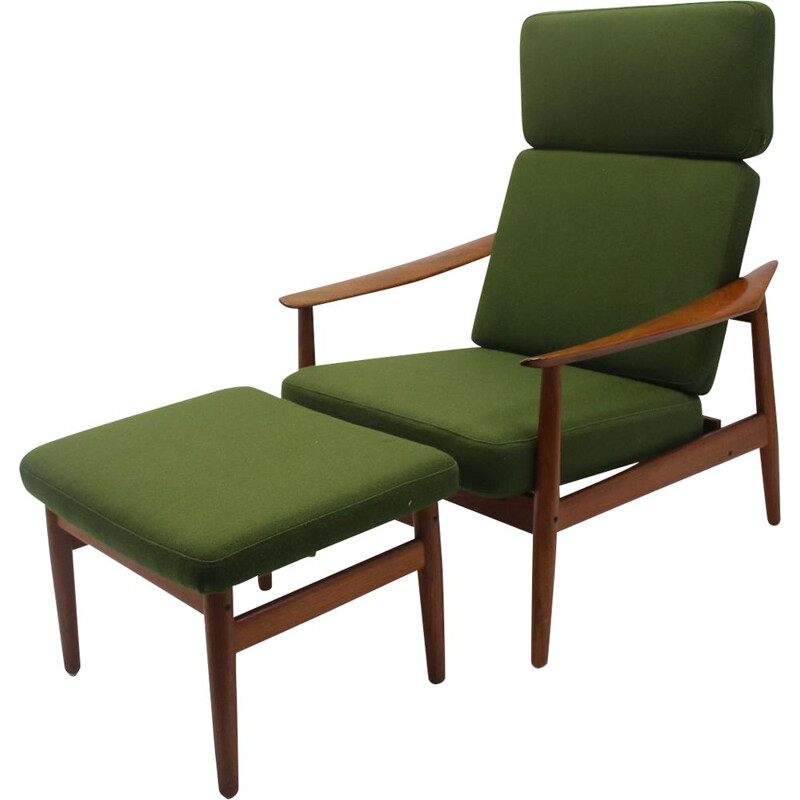 Vintage relax chair with ottoman model 164 teak Arne Vodder danish 1960s