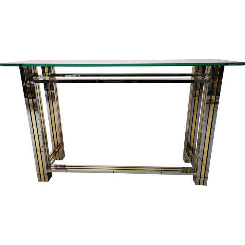 Vintage brass, chrome and glass console table by Willy Rizzo from Italy 1970