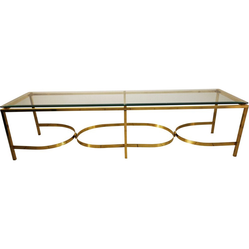 Vintage low XXL brass and italian glass console 1960