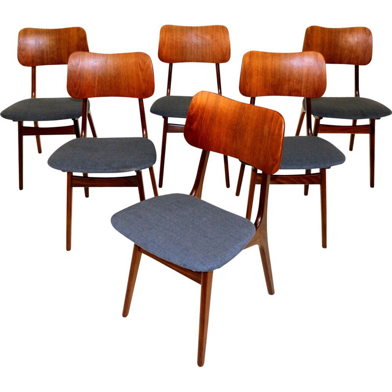Set of 6 vintage teak chairs, Ib Kofod Larsen, Denmark 1960