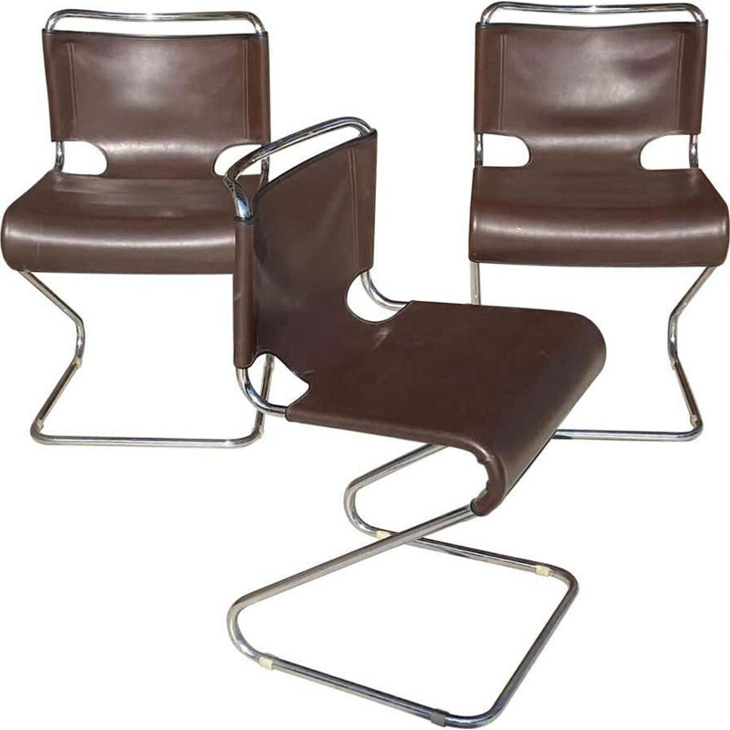3 vintage chairs by Pascal Mourgue Steiner, Biscia model, 1970