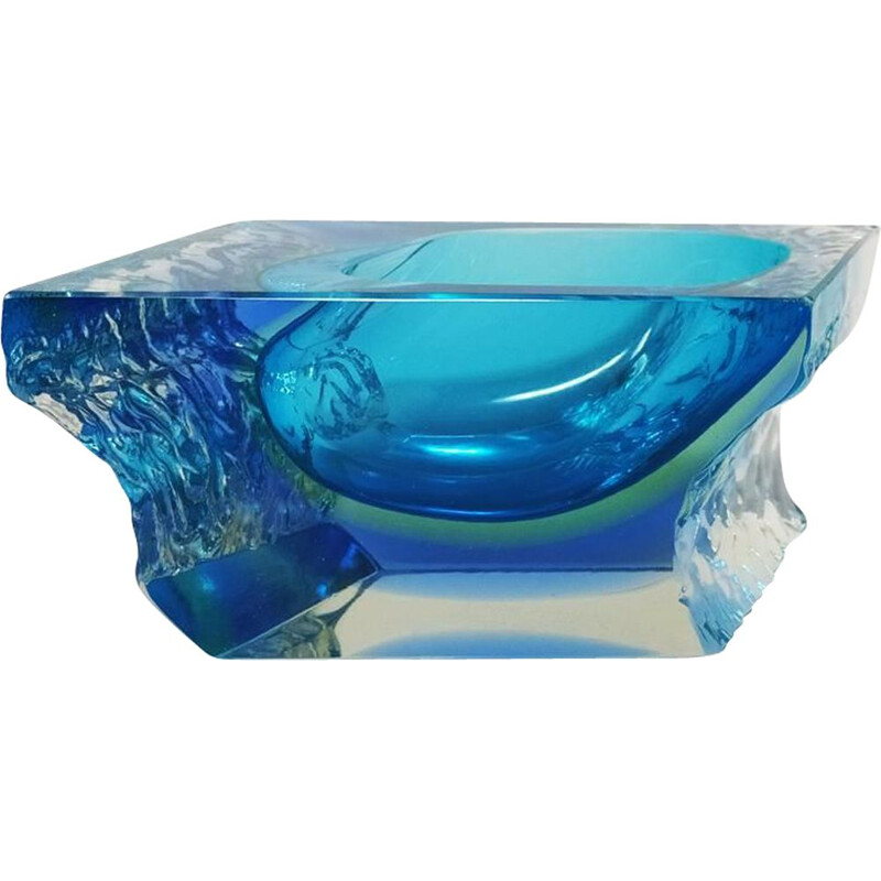 Vintage Blue Ashtray or Vide Poche By Flavio Poli for Seguso 1960s