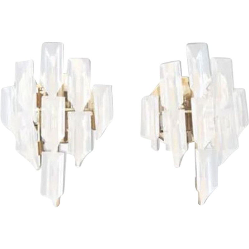 Pair of vintage Venini wall lights with gold structure 1970
