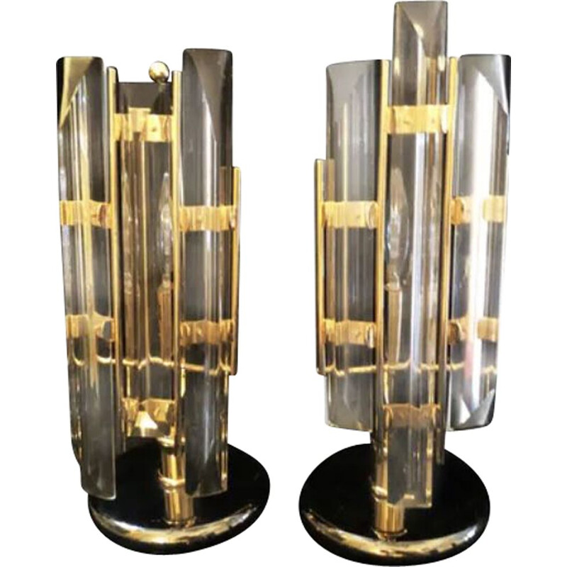 Pair of vintage crystal and gold Venini lamps 1980
