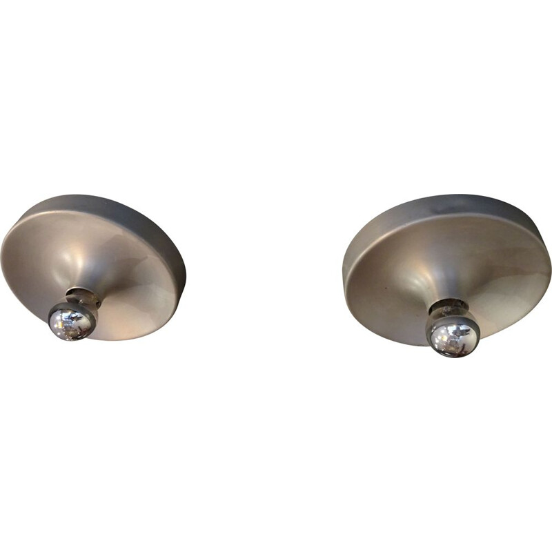 Pair of vintage brushed aluminium wall sconces 1970