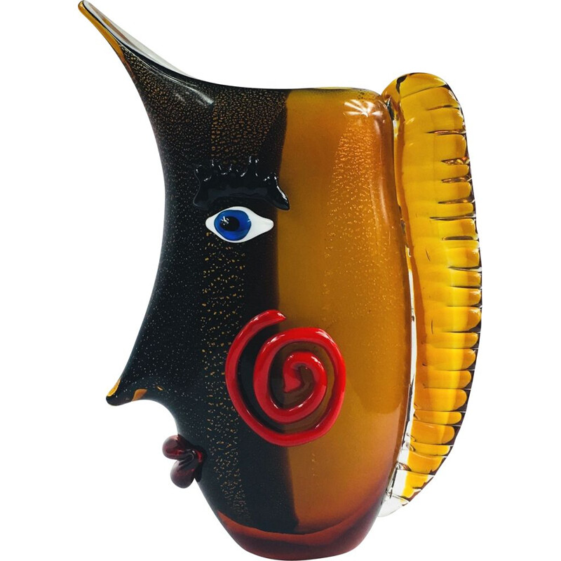 Large vintage Murano Glass Face Vase, 1960s