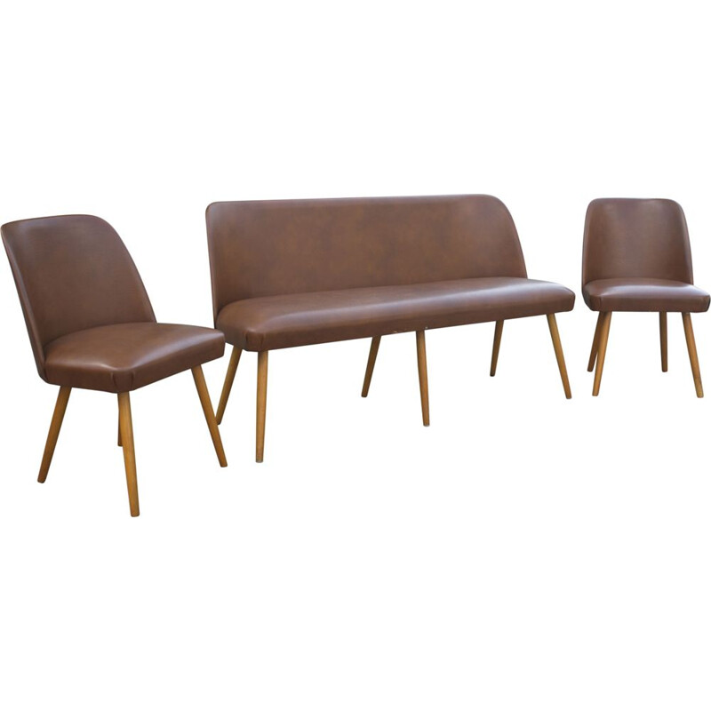 Vintage cocktail bench cocktail chairs in brown Skai leatherette 1950s