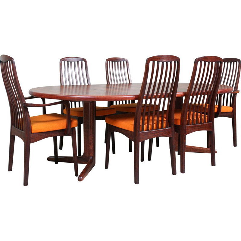 Set of 7 vintage Dining Table & Chairs Set from Svegards, Rosewood 1960s