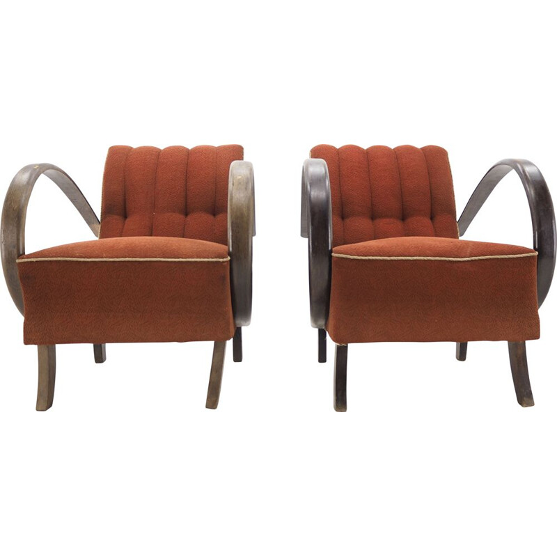 Pair of vintage armchairs by Jindrich Halabala, Czechoslovakia, Art Deco 1940