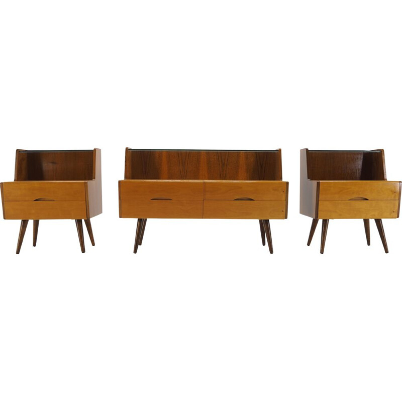 Set of 3 vintage side tables in the style of Brussels, Czechoslovakia, 1960