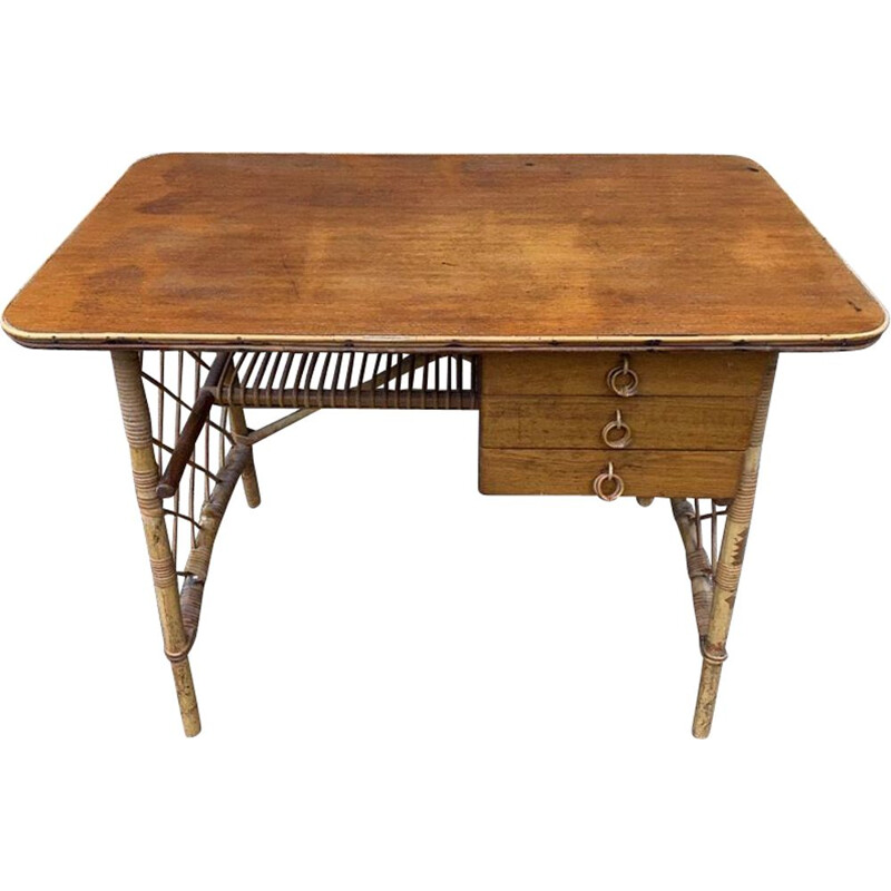 Vintage desk with 3 drawers in rattan by Louis Sognot 1960
