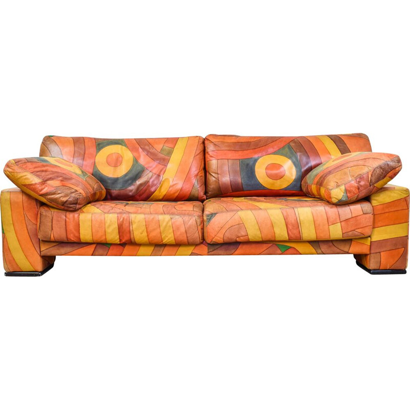 Vintage multicolor hand painted sofa 1980