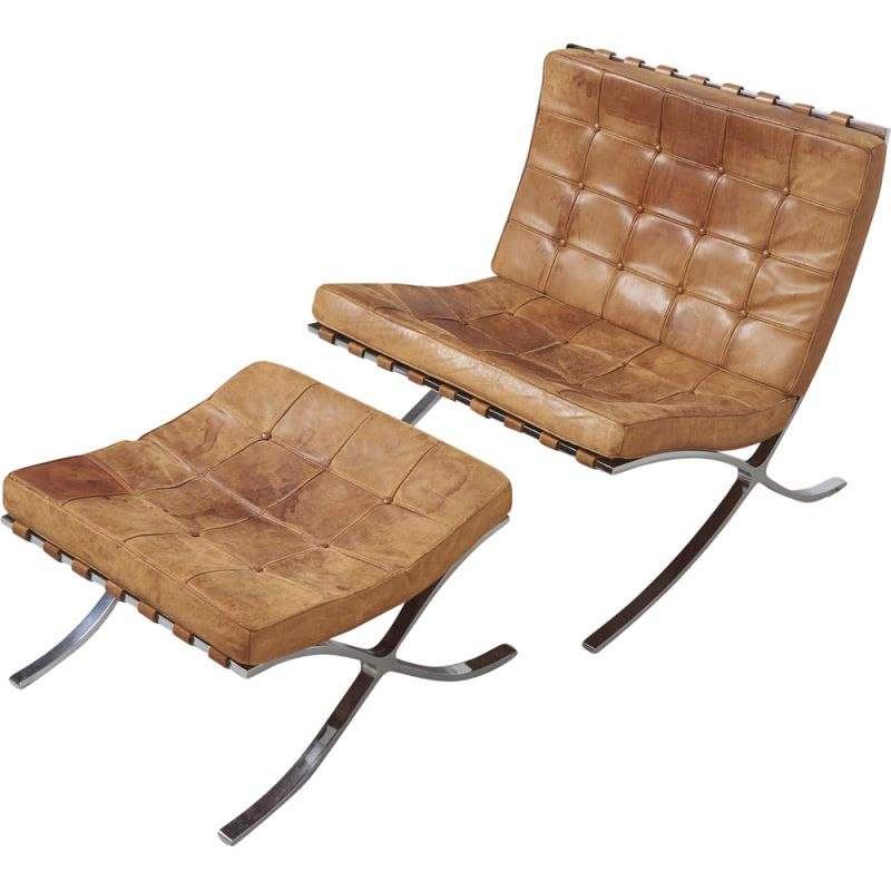 """Vintage armchair and stool set """"Barcelona"""" by Mies Van der Rohe's, Knoll International, 1960"""