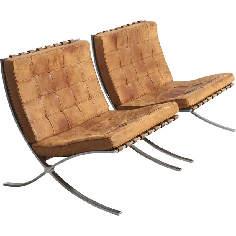 "Pair of vintage armchairs ""Barcelona"", Mies Van der Rohe, Knoll International, Germany 1960"