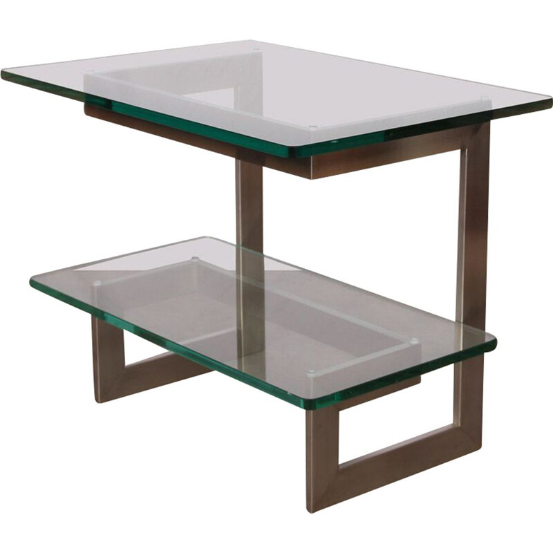 Vintage metal and glass console by Paul Legeard, 1970