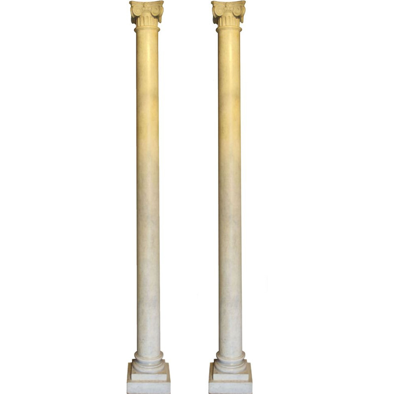 Pair of vintage wooden columns with 1900 Carrara marble effect