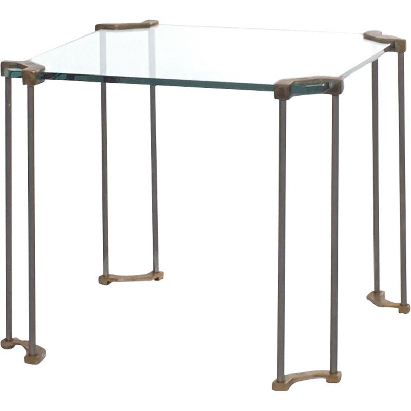 Vintage glass and brass side table Peter Ghyczy 1970