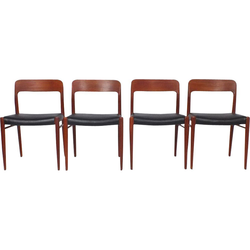 Set of 4 vintage chairs model 75- J.L. Møller - Niels O. Møller 1954